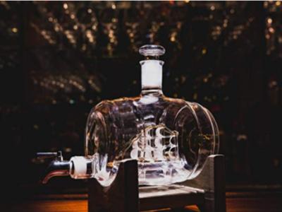 酒桶造型玻璃威士忌酒瓶古船帆船一帆风顺玻璃醒酒器白酒瓶