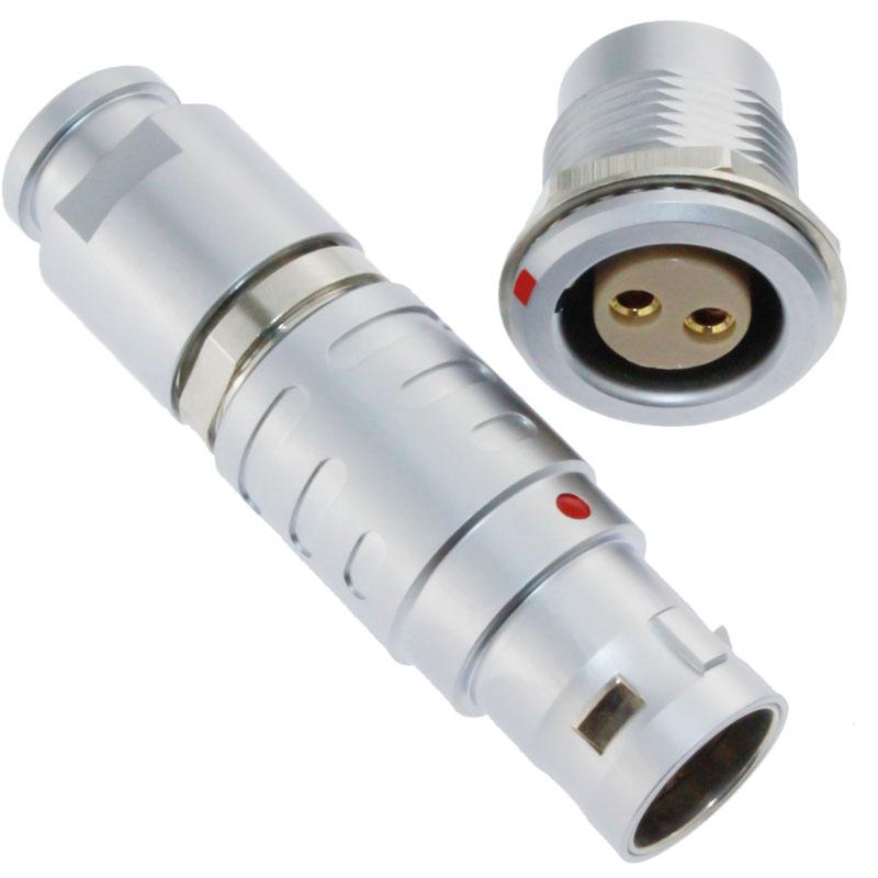 长方捷连接器 2芯塑料金属圆型推拉自锁插头插座