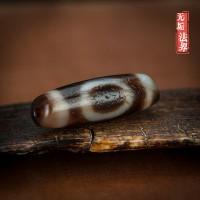 西藏老天珠天地眼老珠无比油润老朱砂九眼页岩石包浆如瓷加持